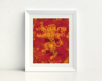 Gift for Him, Game of Thrones, You Win or You Die, Christmas Gift, Lannister, Art, Ice Fire, Printable, Targaryen, Husband Gift, Download