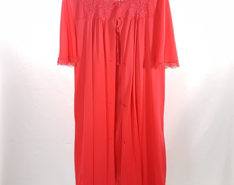Red Vintage Peignoir Set With Nightgown and Robe Texsheen Negligee