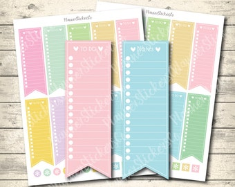 SALE 40% OFF Sidebar Checklist, To Do Checklist, Notes stickers, Erin Condren Planner Printable Stickers, Instant Download Jpeg + Pdf +Png