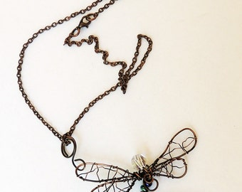 Copper Dragonfly Pendant with Blue Czech beads