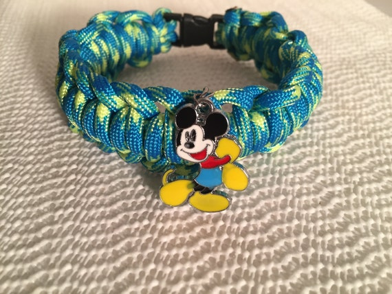 "Mickey Mouse Cord Anklet, Mickey Mouse charm called ""Happy Feet Mickey"" charmed"