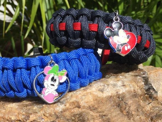 Paracord Bracelet, Mickey or Minney Mouse love heart charm bracelet