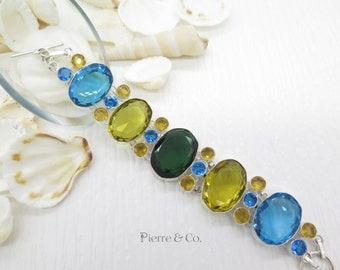 Emerald Quartz Citrine Blue Topaz Sterling Silver Bracelet