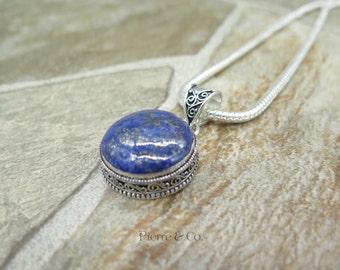 Filigree Lapis Lazuli Sterling Silver Pendant and Chain
