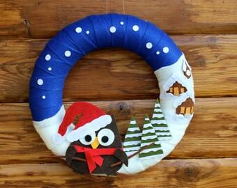 Christmas felt wreath, winter wreath with Santa Owl, snow owl ski, gift ideafor her  for family, Christmas present for all, hanging  decor