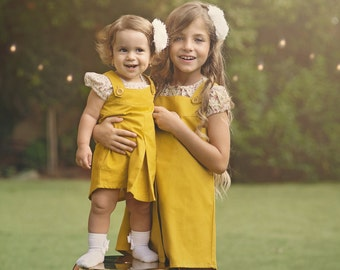 "Girls Pinafore Dress in Sizes 2 to 7 Years -- The ""Billie-Jo"" Pinafore in Ochre"
