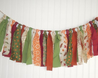 Fall, Autumn, Leaves, Thanksgiving, Pumpkin, Fabric Banner, Photo Shoot, Back Drop, Mantle, Rag Tie