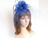 Kentucky Derby, Wedding, Tea Party Sinamay Base with feather Floral, Headband, Veil Fascinator Cocktail 533 ( Royal Blue )