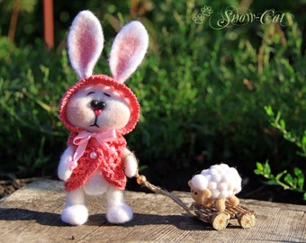 Felted toys Bunny with a lamb