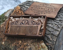 Wood comb - wooden comb - wooden hairbrush - wood hair brush - wooden beard comb - carved comb - gift for her - gift for him