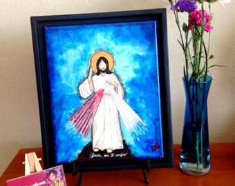 "Divine Mercy, Jesus de la Misericordia - Mixed Media original art (8""x10"")"