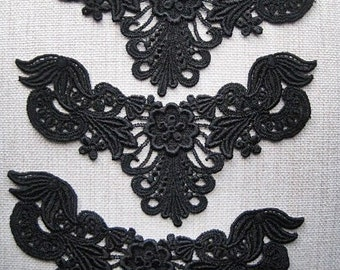 Lace Appliques Black Venice Lace flower design for Necklaces, Jewelry Supply, Altered Couture, Memory pages