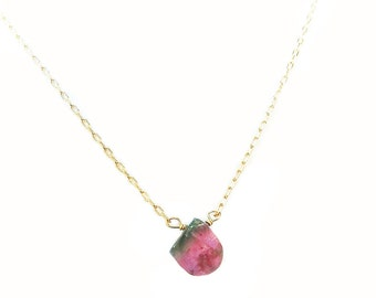 Watermelon Tourmaline Pendant Necklace Gold Filled Natural Gemstone Hand-wrapped One of a kind