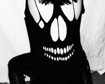 Skull Cutout T Shirt / Alternative Goth Ripped Tee