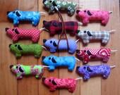 Dachshund Christmas Ornament doxie weiner dog sausage dog embroidered xmas decoration handmade