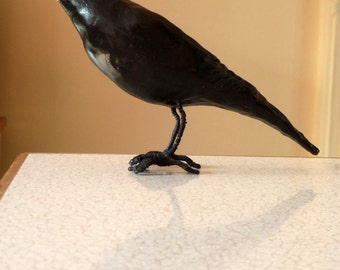 Blackbird sculpture ornament