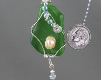 2080N Green Sea Glass Necklace