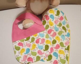 Baby Girl Bib and Burp Pad Set, Baby Girl Embroidered Gift, Pink Baby Girl Bib