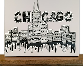 Chicago Canvas Art - Chicago Skyline - Windy City - Home Decor - Black and White - Tribal Art - Drawing - Pen and Ink