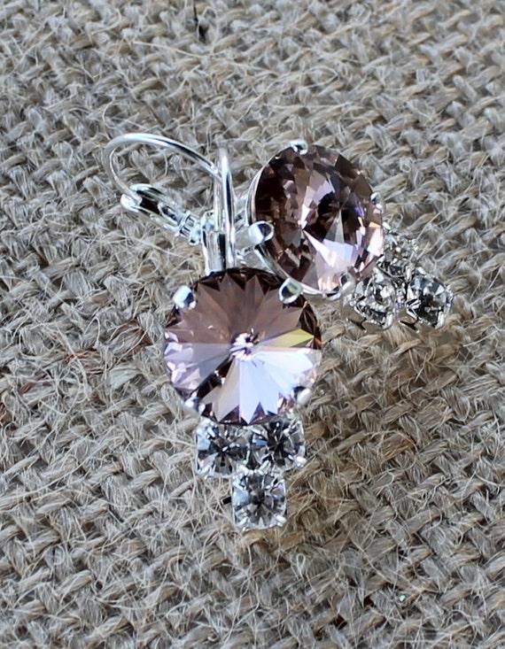 12mm Swarovski Crystal Earrings in Antique Pink