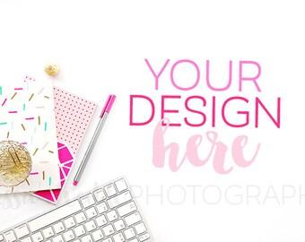 Keyboard + Sprinkles Stationery Styled Desktop, Styled Stock Photography, Styled Mockup, Product Background Photo, Feminine Stock