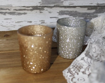 Glittered Votives, Votives, Wedding Votives, Candle Holders, Glitter Votives, Gold Votives, Gold Candle Holders,party favors, bridal shower