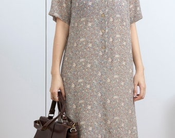 Leaves print beige color vintage dress