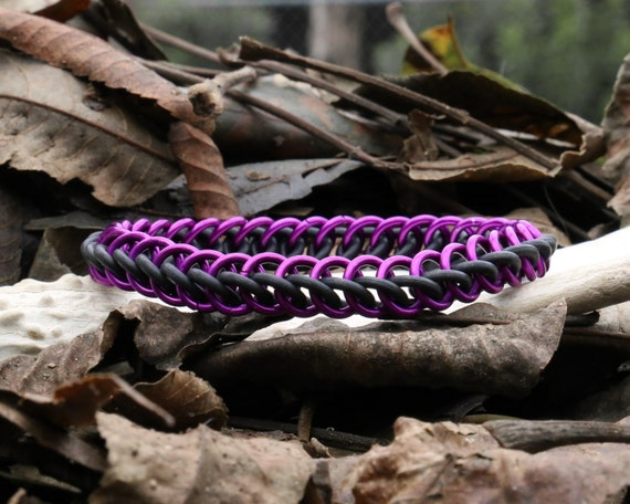 Purple and Black Half Persian Stretchy Chainmaille Bracelet - Stretch Chain Maille Jewelry - Rubber Stretch Chainmail Bracelet Cuff