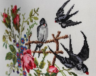 Swallows Cross stitch picture Swallows Cross stitch art Home décor Cross stitch bird picture Embroidery picture Cross stitch Swallow Xstitch