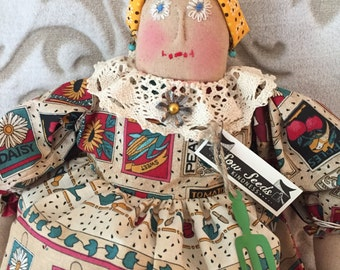 Primitive Folk Art, Rag doll, handmade art doll, raggedy doll, folk art doll, home decor, handmade raggedy doll, Primitive decor, ooak doll