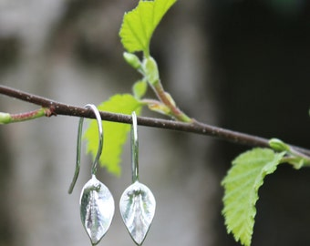 Sterling Silver Leaf  Earrings Form Folded Forged Handmade Unique