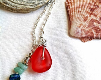 Red sea glass charm necklace