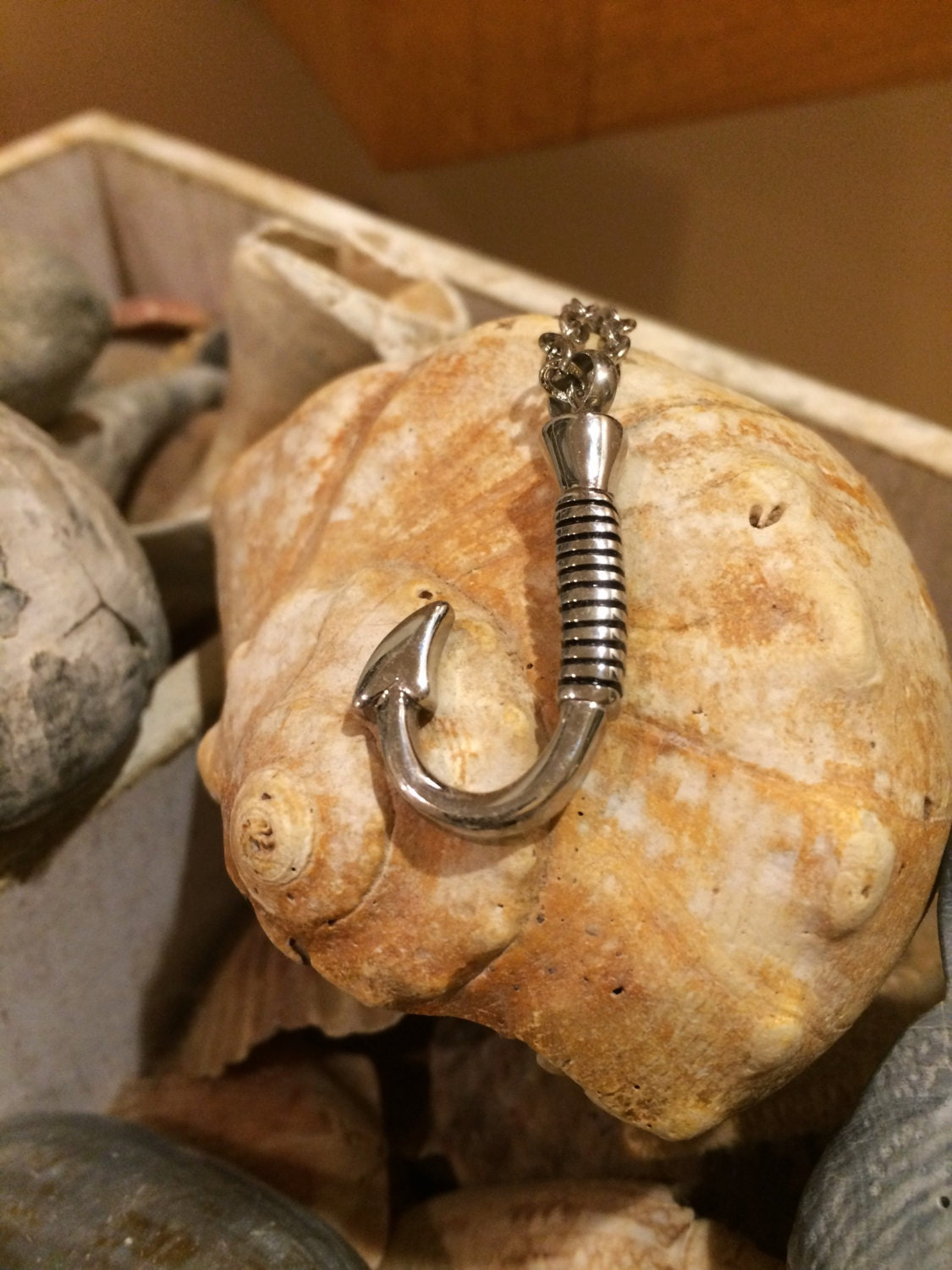 Cremation jewelry solid stainless steel fish hook pendant urn for Fish cremation jewelry