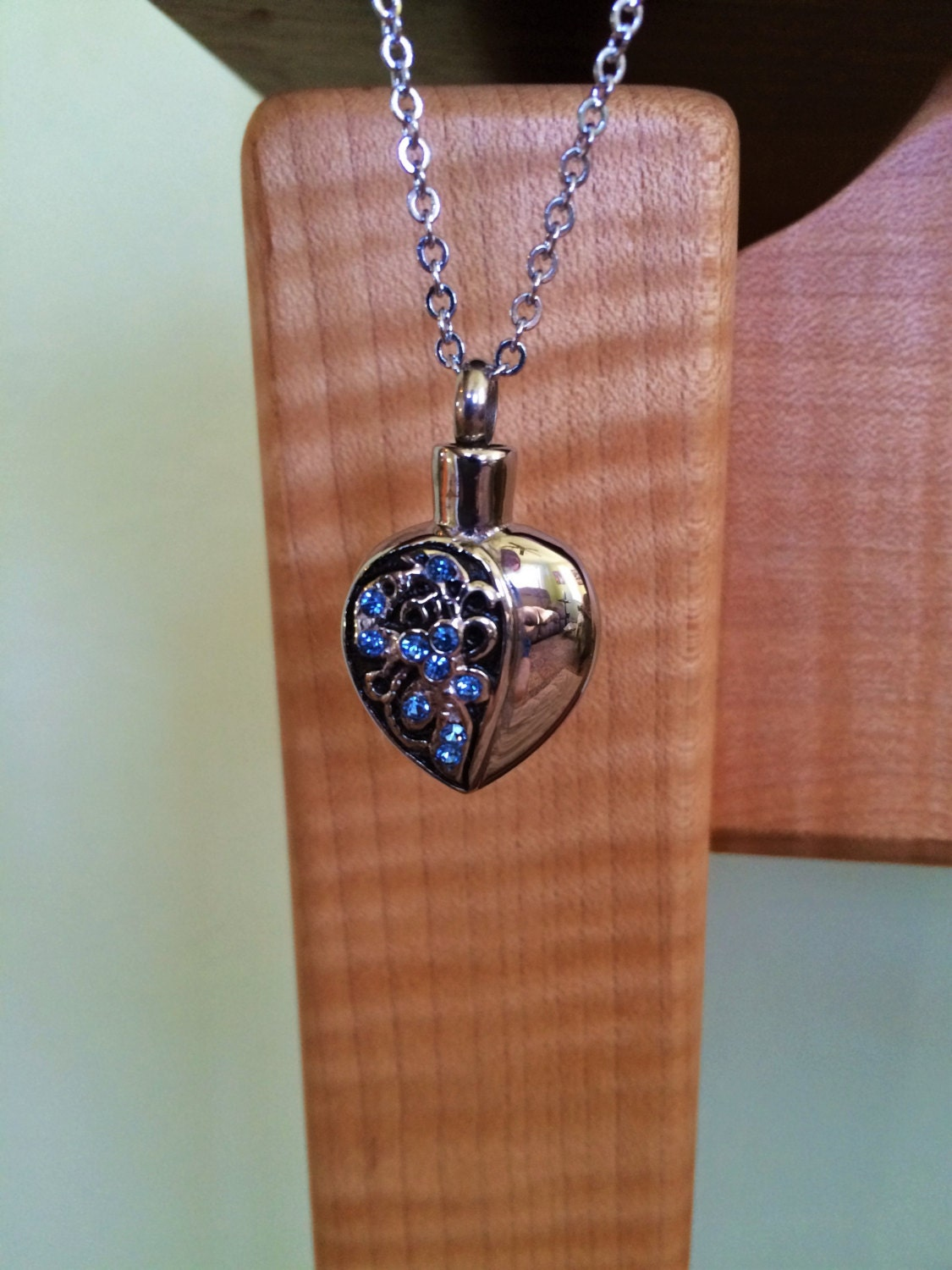 Cremation Jewelry Stainless Steel Amp Black Enamel With Blue