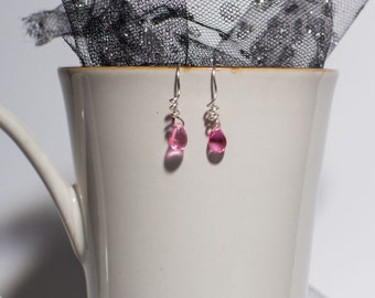 Spiral Earwires with Pink Czech Glass Beads/ Gift/ Hand Made Jewelry/ Wire Work Earrings/ Spiral Earrings
