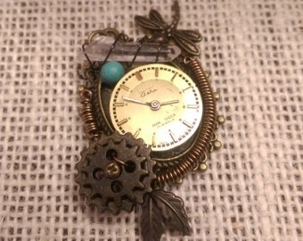 Steampunk Pendant with Quartz Crystal & Turquoise-dyed Magnesite