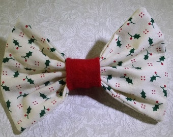 Hair Bow - Holly Print