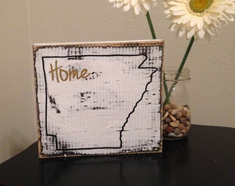 Home (State) wood sign