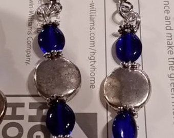 Cobalt Glass and Silver Earrings