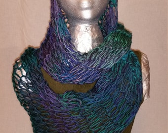 Purple Blue and Teal Knitted Wrap (Infinity Scarf)