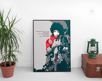 """Poster frase Jimi Hendrix, """"When the power of Love..."""""""