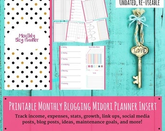 Undated Monthly Blog Planner - Social Media Tracker - Blog Posts - Printable Inserts - Instant Download - Goal Tracker - Travelers Journal