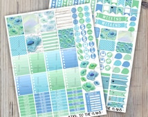 Blue floral printable planner stickers Erin Condren planner printable stickers baby blue mint green watercolor flowers hearts weekly sticker
