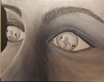 Contemporary, Original, Handpainted, One of a kind, Acrylic painting. Black and White, Womans Eyes, Spiritual, Inspirational. TRAPPED SOULS.