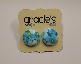 Fabric Button Earrings - Teal Floral