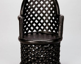 REDUCED Tribal Carved African Bamileke Throne Chair from Cameroon [6916]