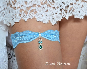 Blue  Bridal Garter, Blue Wedding ,  Blue Garter Set, Blue Lace Garter, Bridal Garter, Wedding Garters, Rhinestone Garter, Handmade Garter