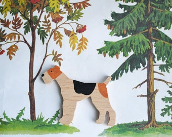 Fox terrier dog wood brooch pin /  Wood unique jewelry