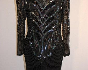 Vintage beaded sequined black dress