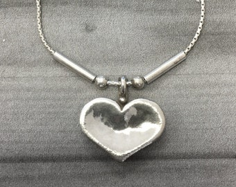 Silver Heart Necklace -  Sterling Silver Handmade Heart Necklace